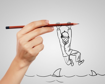 unstable: Drawing of a businessman in a risky situation