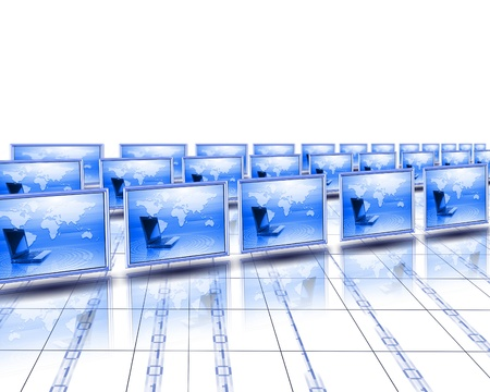 Computer screens with an image of the world on them  photo