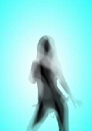 Image with a blurred female silhouette against colour background photo