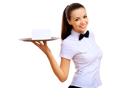 catering service: Portrait of young waitress with an empty tray