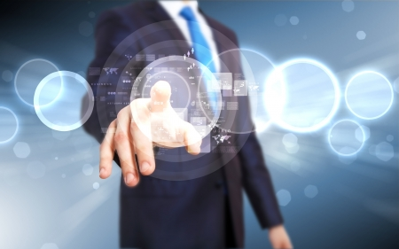 personas: Business persona que trabaja con la tecnolog�a virtual moderno Foto de archivo