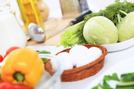 Fresh food and vegetables on the table photo