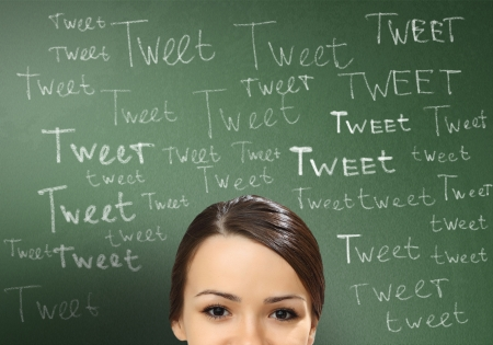 social net: Young person with social media words on the background Stock Photo