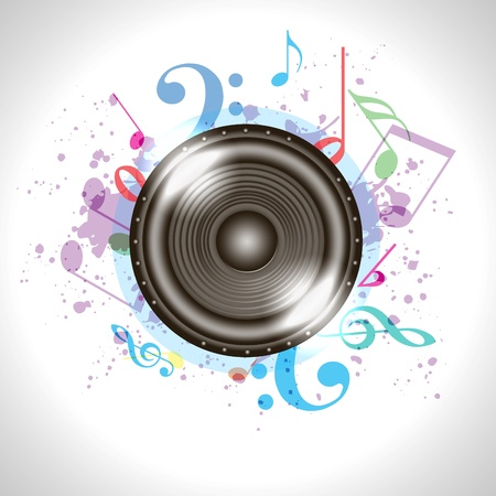 wave sound: Image of music speaker against colourful background