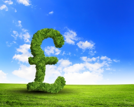 Green grass  UK pound symbol against blue sky photo