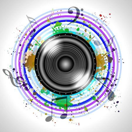 Image of music speaker against colourful background Stock Photo - 14186068