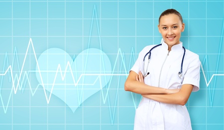 Young doctor in white uniform against technology background Stock Photo - 14184264