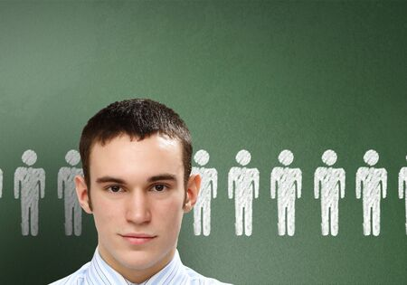 Young person with social media words on the background photo