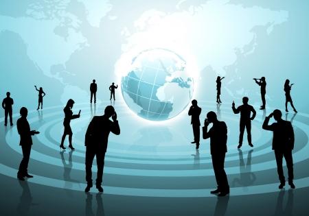 mundo manos: Las figuras humanas conectadas entre s� en la red de comunicaci�n