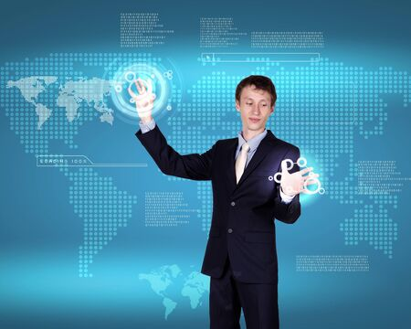 Business person working with modern virtual technology Stock Photo - 14522928