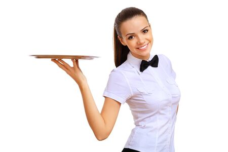 waitress: A young waitress in a white blouse with a tray in his hand Stock Photo
