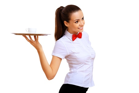 A young waitress in a white blouse with a tray in his hand Stock Photo - 14522418