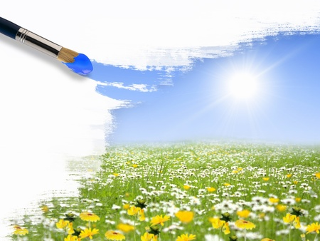 Picture of sunny nature landscape and brushes photo