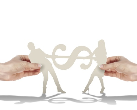 Two human figures holding a currence mark photo