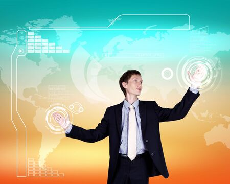 Business person working with modern virtual technology Stock Photo - 14549901