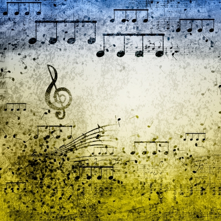 popular music: paper background with note sings on it Stock Photo