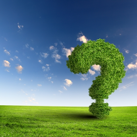 Green grass question mark against blue sky Stock Photo