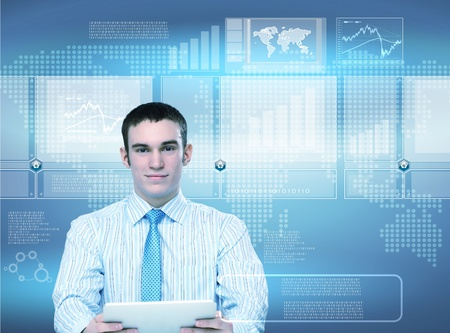Business person working with modern virtual technology photo