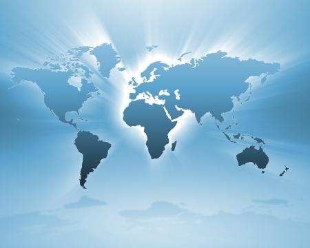 Afbeelding van een licht blauwe kaart van de wereld