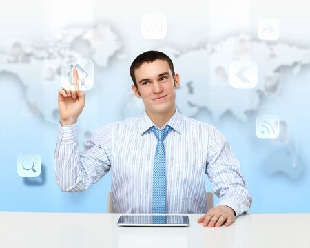 Young business person working with a notebook photo