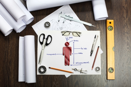 Tools and papers on the table as symbols of business creativity Stock Photo - 14609053