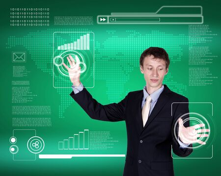 Business person working with modern virtual technology Stock Photo - 14609036