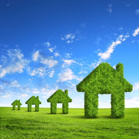 real estate background: Green grass  house symbol against blue sky