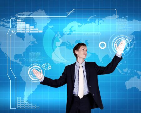 Image of a business person and technology related background Stock Photo - 14633369