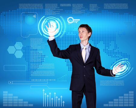 Business person working with modern virtual technology Stock Photo - 14633380