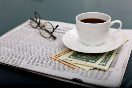 Image of business table with a cup of coffee and norebook Stock Photo - 14654577
