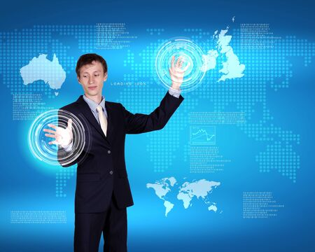 Image of a business person and technology related background Stock Photo - 14633378