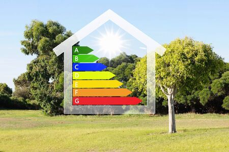 Image of a house against nature background photo