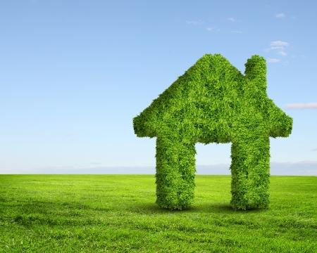 Green grass  house symbol against blue sky photo