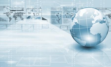 technologie: Modrý zeměkoule na digitální technologie pozadí