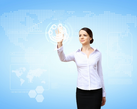 Business person working with modern virtual technology Stock Photo - 14730999