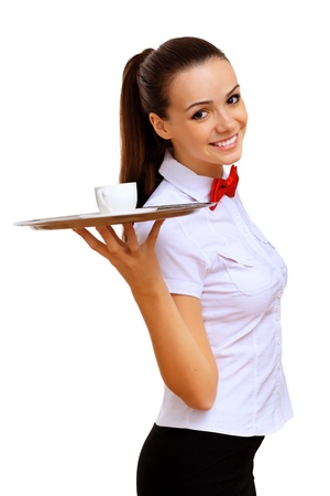 waiter serving: Portrait of young waitress with an empty tray