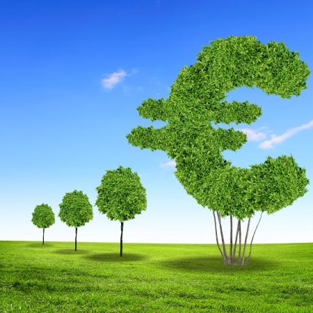 Green grass euro symbol against blue sky Stock Photo