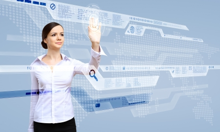 Young woman in business wear working with digital touch screen Stock Photo - 14731228
