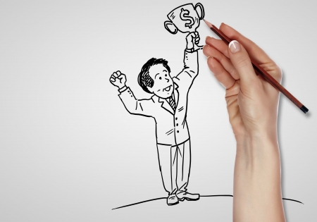 Pencil drawing about financial success in business photo