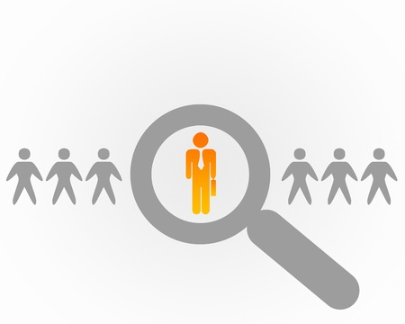 Person with a search symbol in a row Stock Photo - 14850371