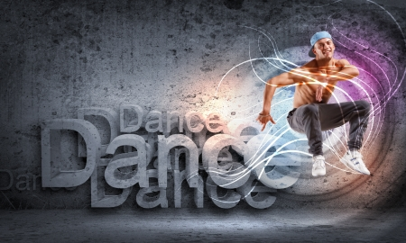 hip hop dancing: young man in a blue cap dancing hip hop - collage
