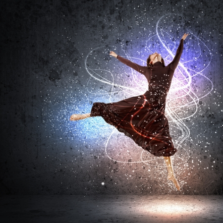 Girl dancing in a color dress with a gray background  Collage photo
