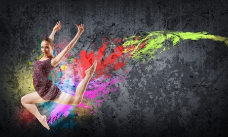 cool girl: Girl dancing in a color dress with a gray background  Collage