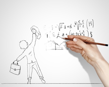 Pencil drawing with quesions and challenges in business Stock Photo - 15185495