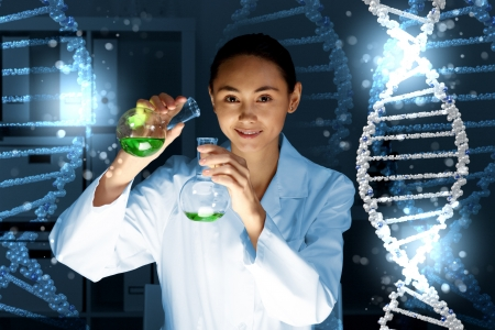 Image of DNA strand against colour background Stock Photo - 15185848