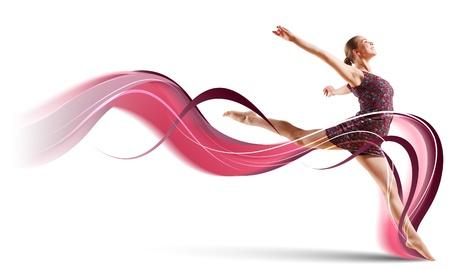gimnasia aerobica: Baile de la muchacha con un vestido de color con un fondo gris Collage