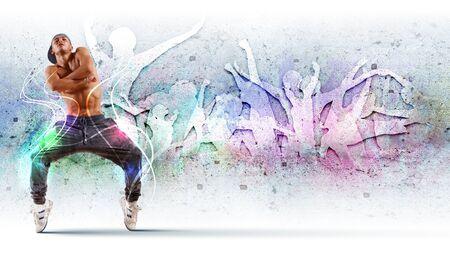 baile hip hop: hombre joven en una tapa azul hip hop dancing - collage Foto de archivo