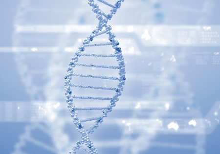 biology cell: Image of DNA strand against colour background
