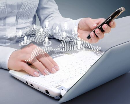 computer software: Computer keyboard and multiple social media images
