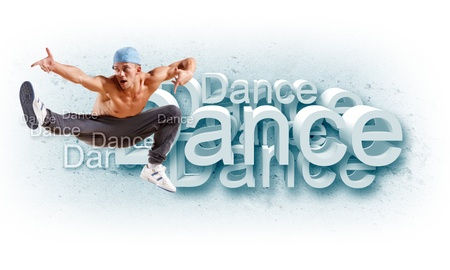urban dance: young man in a blue cap dancing hip hop - collage